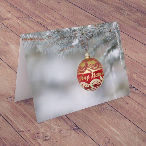 Picture of: Personalised Christmas Card - Seasonal Bauble | Secret Santa Generator Gifts