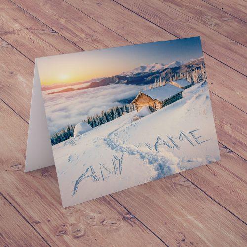 Picture of: Personalised Christmas Card - Seasonal Snow Scene | Secret Santa Generator Gifts