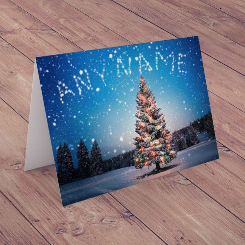 Picture of: Personalised Christmas Card - Snowy Christmas Tree | Secret Santa Generator Gifts