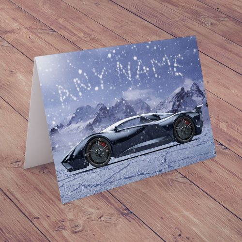 Picture of: Personalised Christmas Card - Snowy Dream Car | Secret Santa Generator Gifts