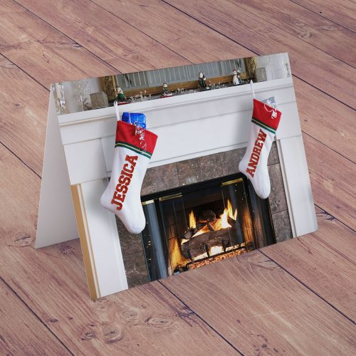 Picture of: Personalised Christmas Card - Couples Christmas Stockings | Secret Santa Generator Gifts