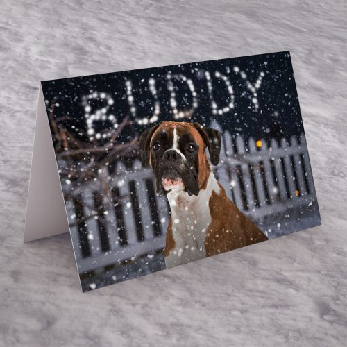 Picture of: Personalised Christmas Card - Boxer Dog