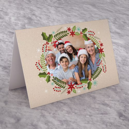 Picture of: Photo Upload Christmas Card - Wreath | Secret Santa Generator Gifts