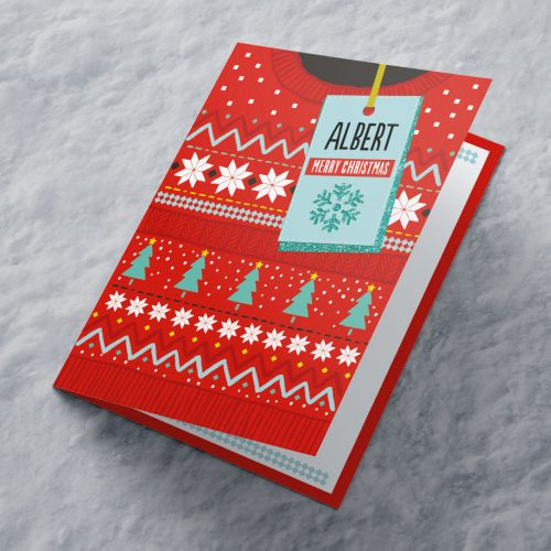 Picture of: Personalised Christmas Card - Red Christmas Jumper | Secret Santa Generator Gifts
