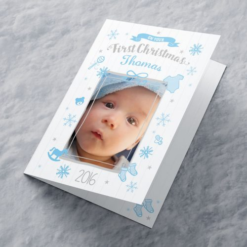 Picture of: Photo Upload Christmas Card - Blue First Christmas | Secret Santa Generator Gifts