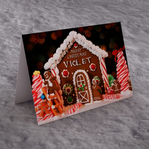 Picture of: Personalised Christmas Card - Gingerbread House | Secret Santa Generator Gifts