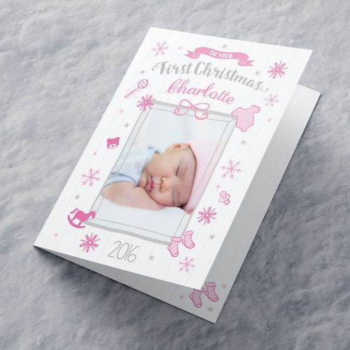 Picture of: Photo Upload Christmas Card - Pink First Christmas | Secret Santa Generator Gifts