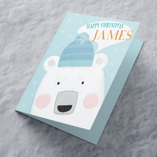 Picture of: Personalised Christmas Card - Polar Bear With Wooly Hat | Secret Santa Generator Gifts