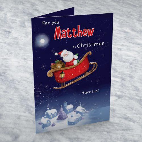 Picture of: Personalised Card - Santa Sleigh | Secret Santa Generator Gifts