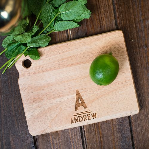 Picture of: Personalised Mini Wooden Chopping Board - Initials | Secret Santa Generator Gifts