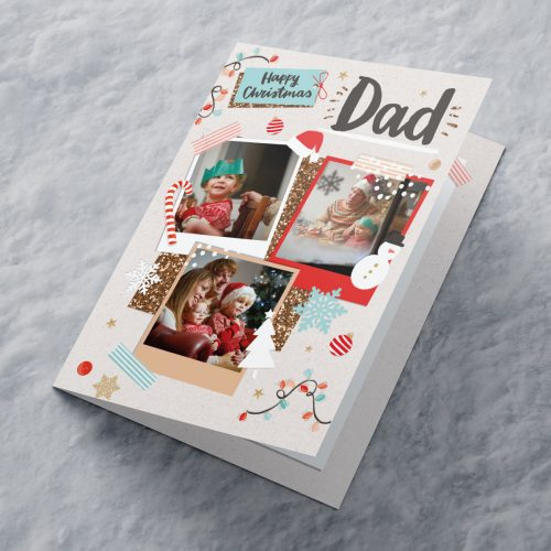 Picture of: Multi Photo Upload Christmas Card - Three Photos Dad | Secret Santa Generator Gifts