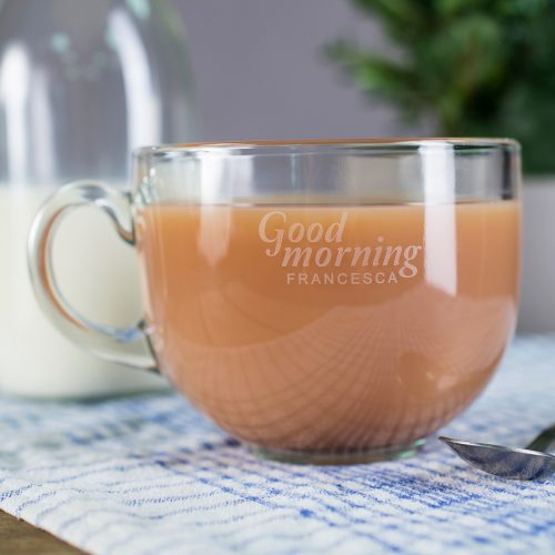 Picture of: Personalised Glass Teacup - Good Morning | Secret Santa Generator Gifts