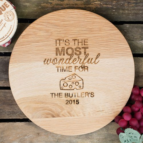Picture of: Personalised Barrel Top Chopping Board - Time For Cheese | Secret Santa Generator Gifts