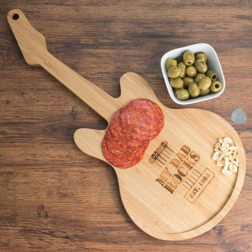 Picture of: Personalised Guitar Chopping Board - My Dad Rocks | Secret Santa Generator Gifts