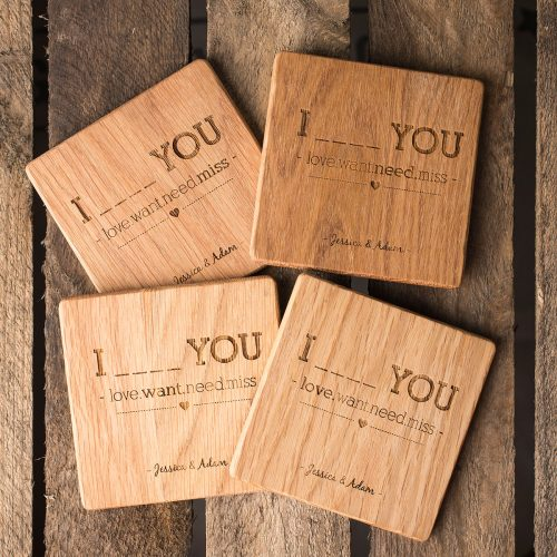 Picture of: Personalised Set Of 4 Wooden Coasters - Four Words | Secret Santa Generator Gifts