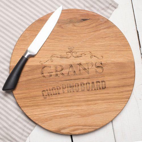 Picture of: Personalised Barrel Top Oak Chopping Board - Heart Element | Secret Santa Generator Gifts