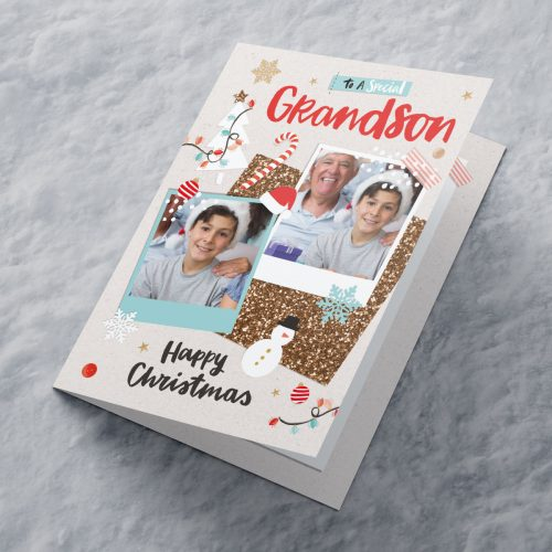 Picture of: Multi Photo Upload Christmas Card - Special Grandson | Secret Santa Generator Gifts