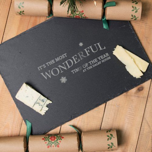 Picture of: Personalised Rectangular Slate Cheeseboard - Wonderful Time Of The Year | Secret Santa Generator Gifts