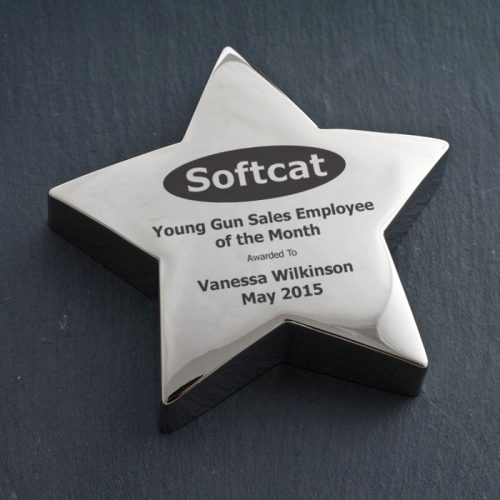 Picture of: Softcat Silver Star Paperweight | Secret Santa Generator Gifts