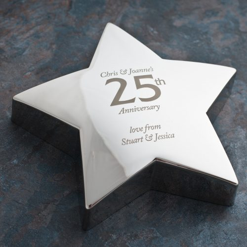 Picture of: Engraved '25th Anniversary' Silver Star Paperweight | Secret Santa Generator Gifts