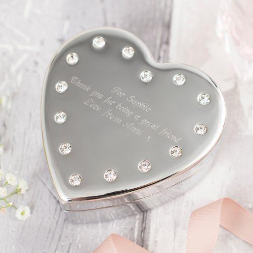 Picture of: Engraved Diamanté Heart-Shaped Jewellery Box | Secret Santa Generator Gifts