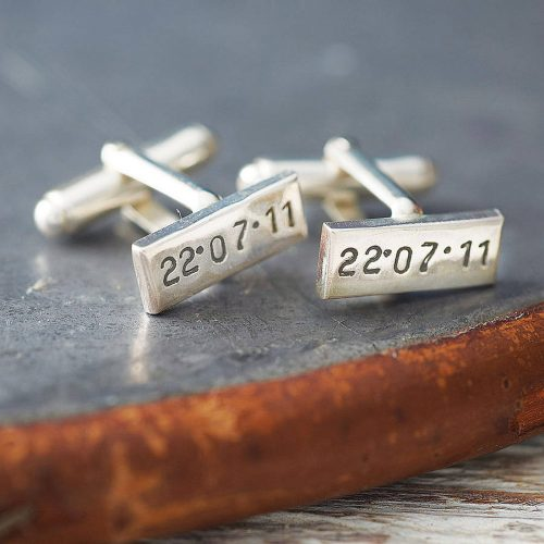 Picture of: Personalised Posh Totty Designs Sterling Silver Rectangle Cufflinks | Secret Santa Generator Gifts