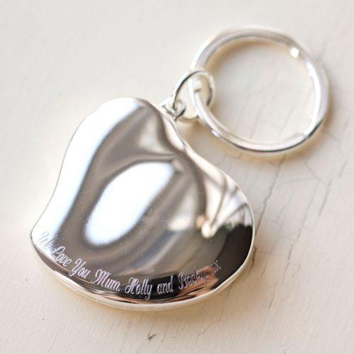 Picture of: Engraved Photo Heart Locket Key Ring | Secret Santa Generator Gifts