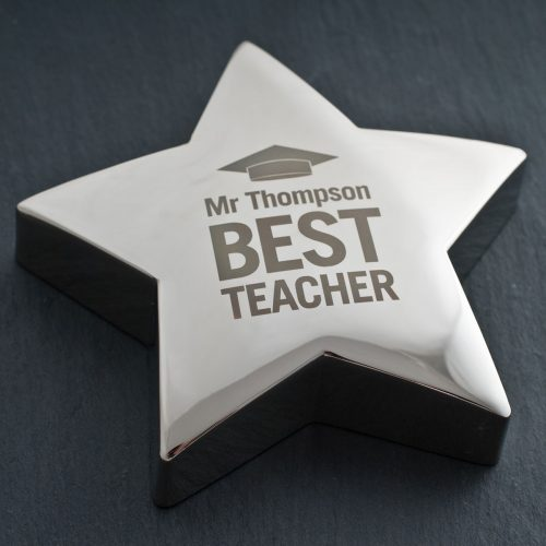 Picture of: Engraved Silver Star Paperweight - Best Teacher | Secret Santa Generator Gifts