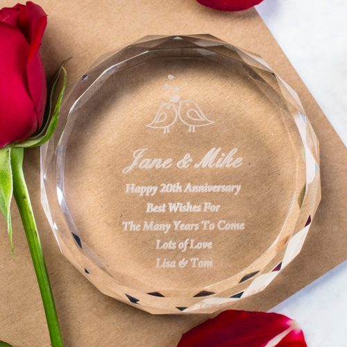 Picture of: Personalised Round Glass Paperweight - Anniversary | Secret Santa Generator Gifts