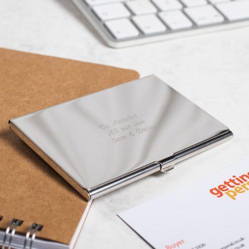 Picture of: Engraved Business Card Holder | Secret Santa Generator Gifts