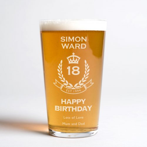 Picture of: Personalised Pint Glass - 18th Birthday Crest | Secret Santa Generator Gifts