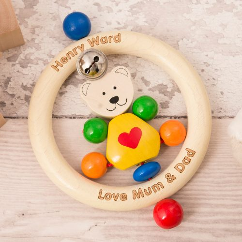 Picture of: Engraved Wooden Rattle - Teddy Bear | Secret Santa Generator Gifts