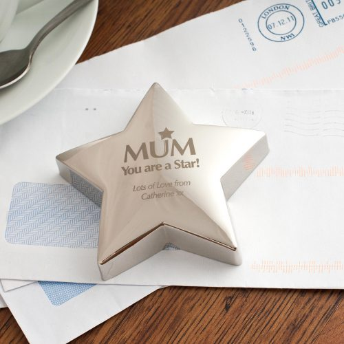 Picture of: Engraved 'Mum You're A Star' Silver Star Paperweight | Secret Santa Generator Gifts