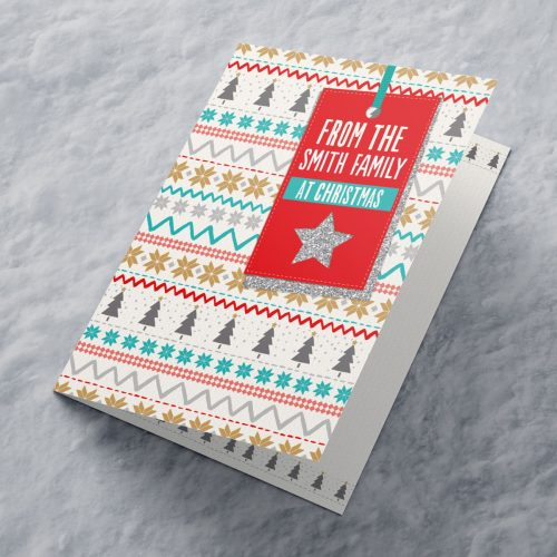 Picture of: Personalised Christmas Card - Christmas Pattern With Label | Secret Santa Generator Gifts