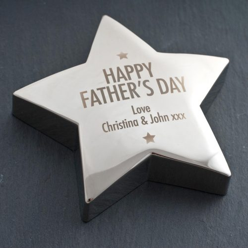 Picture of: Engraved Father's Day Silver Star Paperweight | Secret Santa Generator Gifts