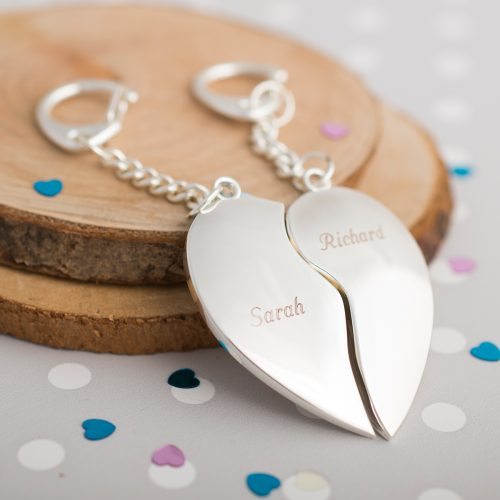 Picture of: Engraved Two Heart Key Rings | Secret Santa Generator Gifts