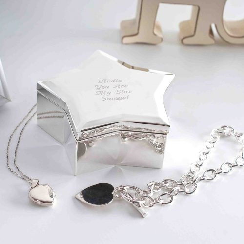 Picture of: Engraved Silver-Plated Star Trinket Box | Secret Santa Generator Gifts