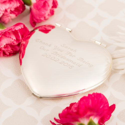 Picture of: Engraved Heart Compact Mirror | Secret Santa Generator Gifts