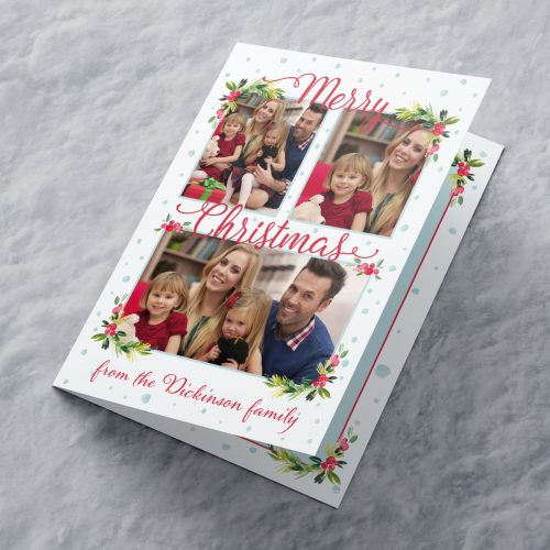 Picture of: Photo Upload Christmas Card - 3 Photos Holly | Secret Santa Generator Gifts