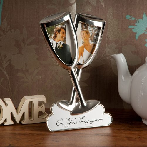 Picture of: Silver-Plated Engagement Champagne Photo Frame | Secret Santa Generator Gifts