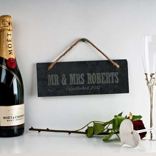 Picture of: Engraved Marriage Hanging Slate Sign | Secret Santa Generator Gifts