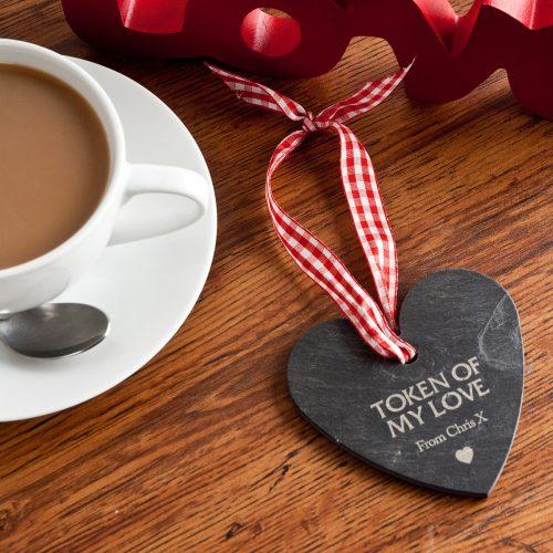Picture of: Engraved Heart Shaped Slate Hanging Keepsake | Secret Santa Generator Gifts