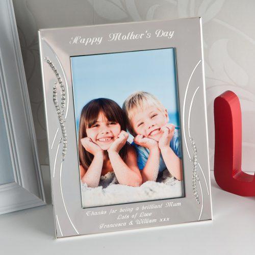 Picture of: Engraved Silver Diamanté Photo Frame | Secret Santa Generator Gifts