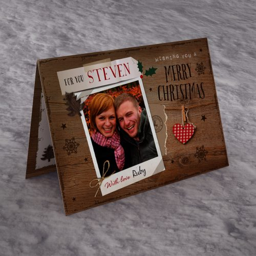 Picture of: Photo Upload Christmas Card - Wooden Polaroid With Love | Secret Santa Generator Gifts