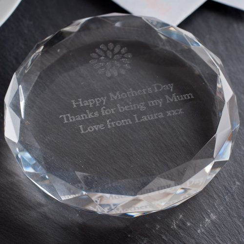 Picture of: Personalised Round Glass Paperweight | Secret Santa Generator Gifts