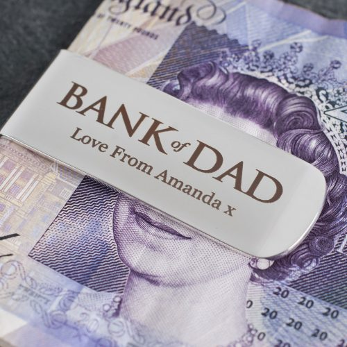 Picture of: Engraved Silver-Plated Money Clip - Bank Of Dad | Secret Santa Generator Gifts