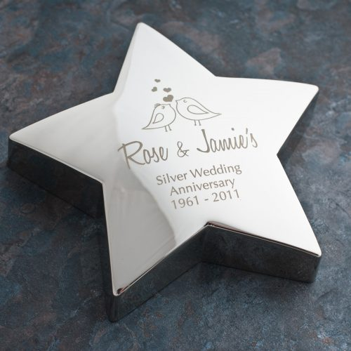 Picture of: Engraved Anniversary Silver-Plated Star Paperweight | Secret Santa Generator Gifts