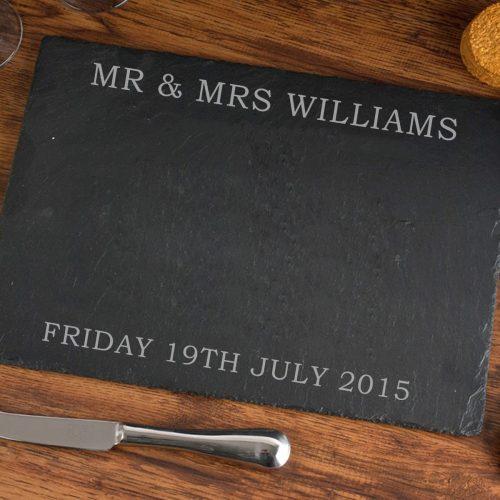 Picture of: Personalised Wedding Slate Cheeseboard | Secret Santa Generator Gifts
