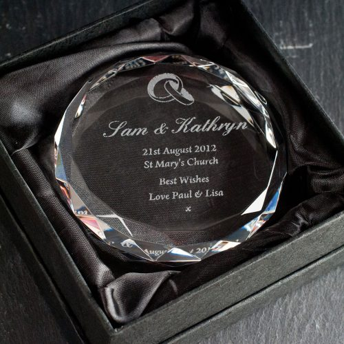 Picture of: Personalised Round Glass Paperweight - Wedding | Secret Santa Generator Gifts
