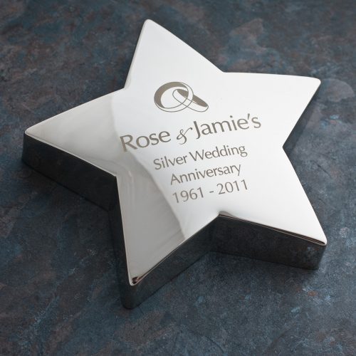 Picture of: Engraved Silver Star Paperweight - Wedding Rings